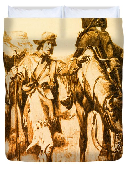 J.c. Fremont And His Guide, Kit Carson Duvet Cover by Photo Researchers