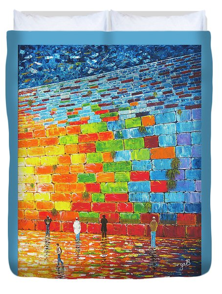 Duvet Cover featuring the painting Jerusalem Wailing Wall Original Acrylic Palette Knife Painting by Georgeta Blanaru