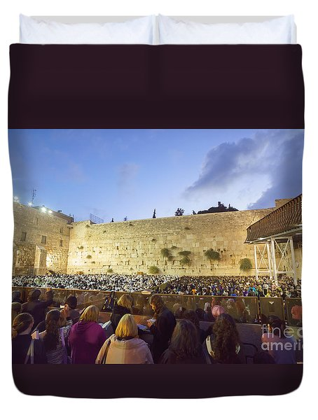 Jewish Sunrise Prayers At The Western Wall, Israel 8 Duvet Cover