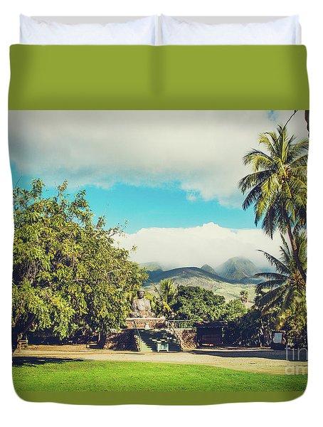 Duvet Cover featuring the photograph Jodo Shu Mission Lahaina Maui Hawaii by Sharon Mau