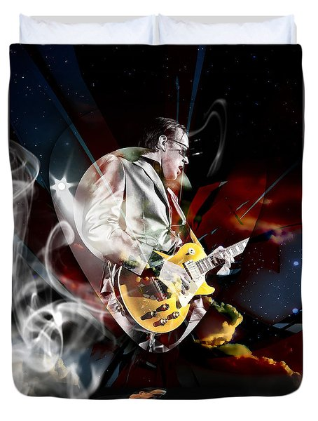 Joe Bonamassa Blue Guitarist Art Duvet Cover by Marvin Blaine