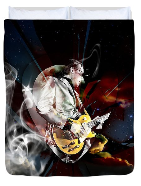 Joe Bonamassa Blues Guitarist Art Duvet Cover by Marvin Blaine