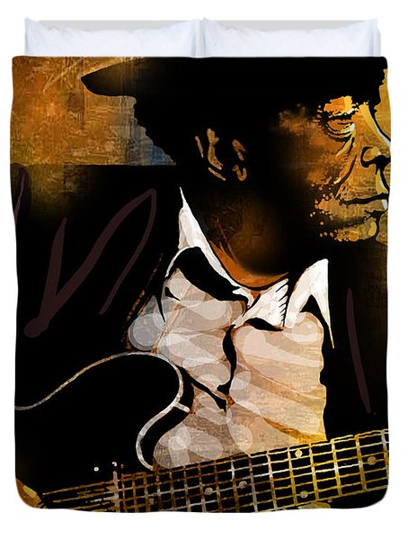 John Lee Hooker Duvet Cover by Paul Sachtleben