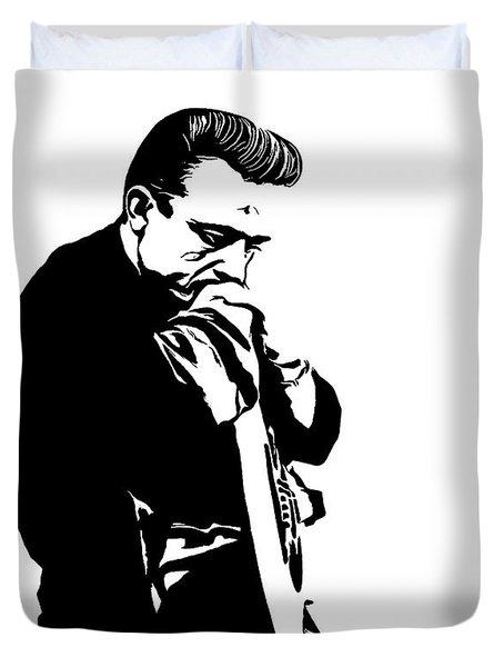 Johnny Cash Black And White Duvet Cover