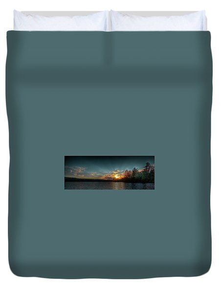 June Sunset On Nicks Lake Duvet Cover by David Patterson