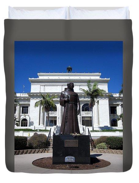 Serra At City Hall Duvet Cover by Mary Ellen Frazee