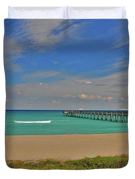 Duvet Cover featuring the photograph 1- Juno Beach Pier by Joseph Keane