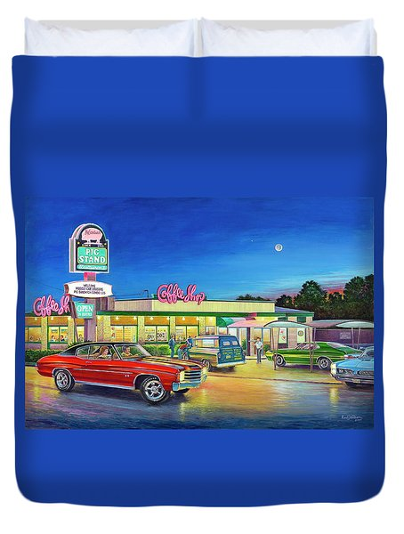 Muscle Car Cruise Night Duvet Cover