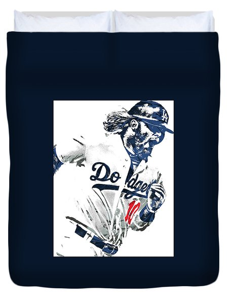 Duvet Cover featuring the mixed media Justin Turner Los Angeles Dodgers Pixel Art by Joe Hamilton