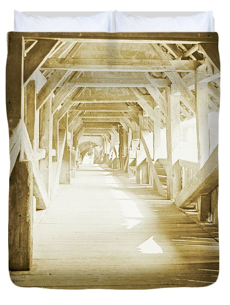 Kapell Bridge, Lucerne, Switzerland, 1903, Vintage, Photograph Duvet Cover