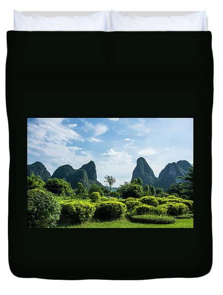 Duvet Cover featuring the photograph Karst Mountains Scenery by Carl Ning