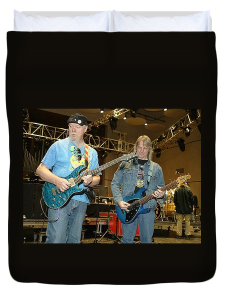 Duvet Cover featuring the photograph Kerry Livgren And Steve Morse Kansas by Don Olea