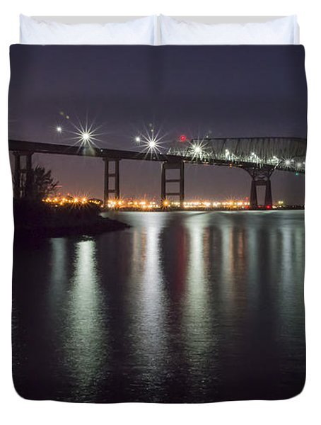 Key Bridge At Night Duvet Cover