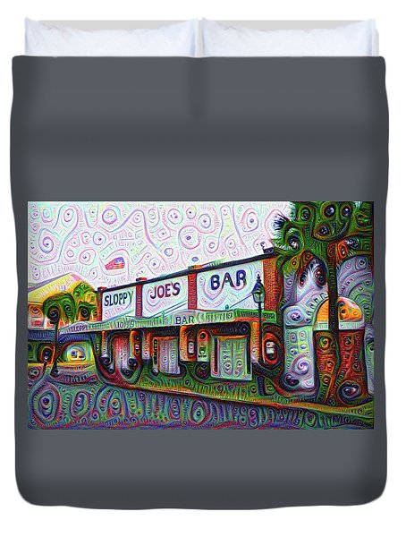 Key West Florida Sloppy Joes Bar Duvet Cover by Bill Cannon