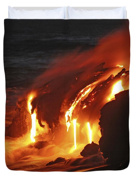 Duvet Cover featuring the photograph Kilauea Lava Flow Sea Entry, Big by Martin Rietze