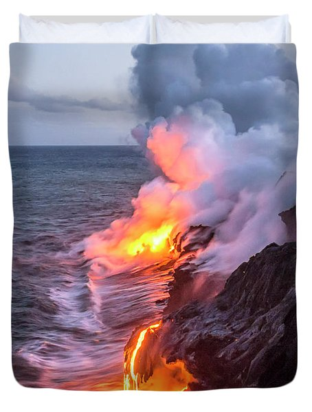 Kilauea Volcano Lava Flow Sea Entry 7 - The Big Island Hawaii Duvet Cover
