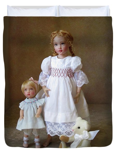 Duvet Cover featuring the photograph Kindhearted Kish Dolls by Nancy Lee Moran