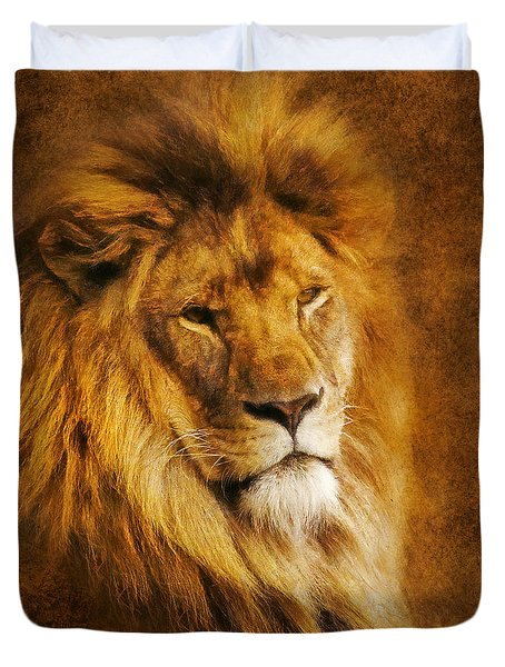 Duvet Cover featuring the digital art King Of The Beasts by Ian Mitchell