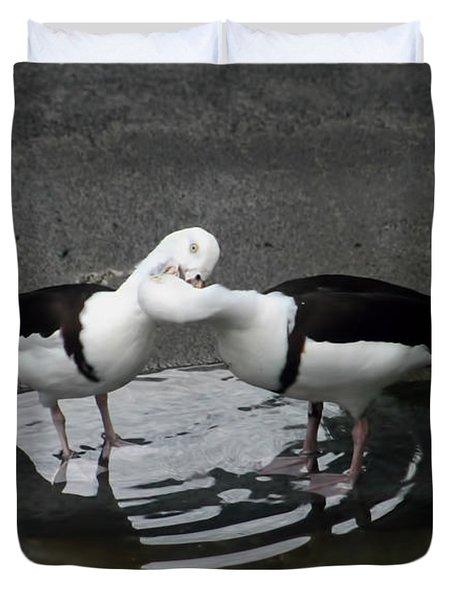 Kissing Ducks Duvet Cover