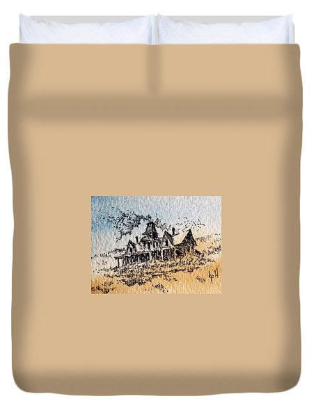 Knippenberg Mansion Glendale Ghost Town Montana Duvet Cover by Kevin Heaney