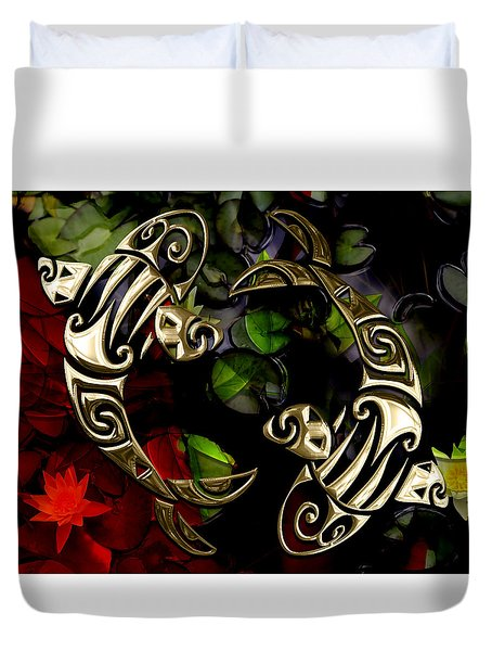Koi Fish Pond Collection Duvet Cover by Marvin Blaine