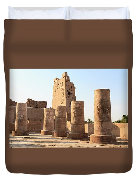 Duvet Cover featuring the photograph Kom Ombo by Silvia Bruno