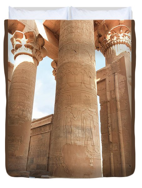 Duvet Cover featuring the photograph Kom Ombo Temple by Silvia Bruno
