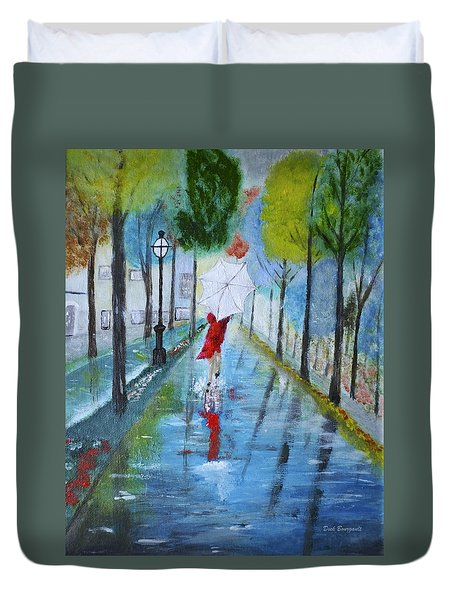 Lady In Red Original Version Duvet Cover