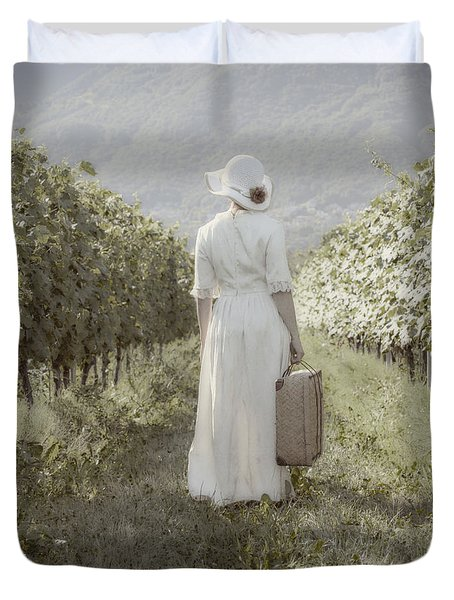 Lady In Vineyard Duvet Cover