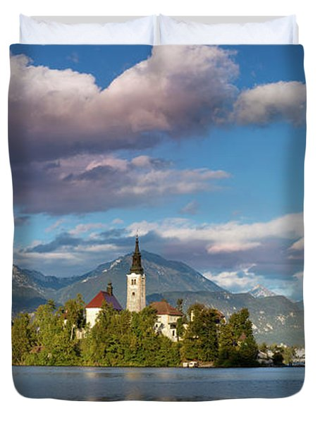 Duvet Cover featuring the photograph Lake Bled Panoramic by Brian Jannsen