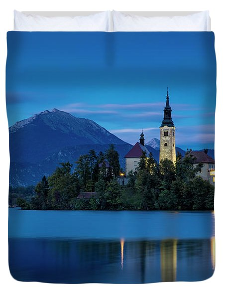 Duvet Cover featuring the photograph Lake Bled Twilight by Brian Jannsen