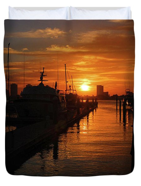 Duvet Cover featuring the photograph 1- Lake Park Marina by Joseph Keane