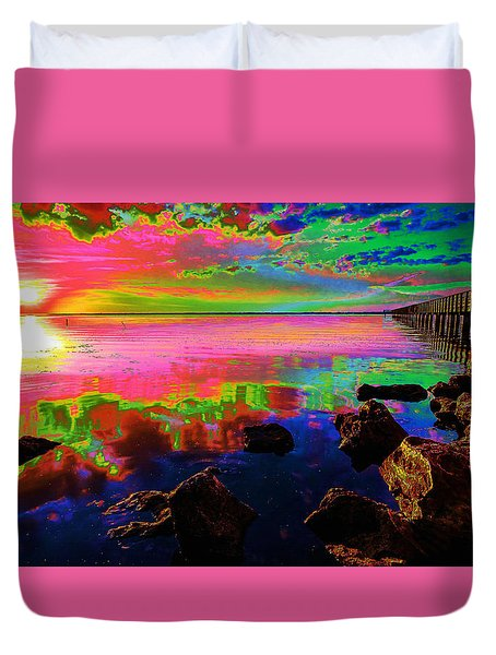 Lake Sunset Duvet Cover