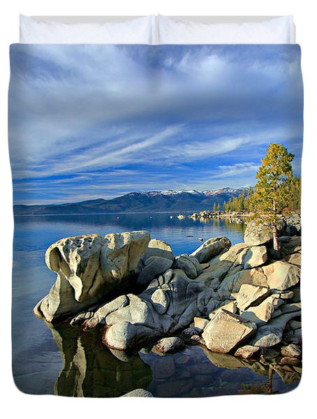 Lake Tahoe Rocks Duvet Cover