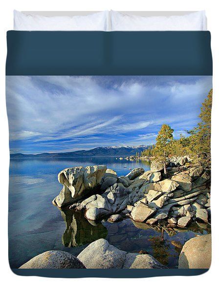 Lake Tahoe Rocks Duvet Cover