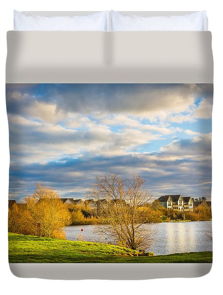 Duvet Cover featuring the photograph Lake View by Gary Gillette