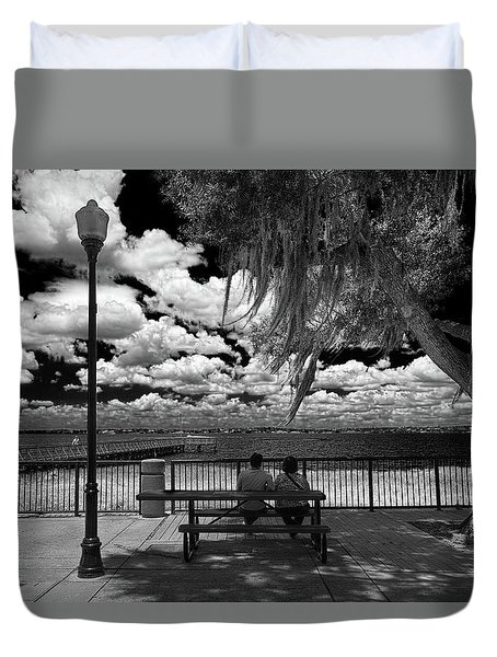 Duvet Cover featuring the photograph Lake View by Lewis Mann