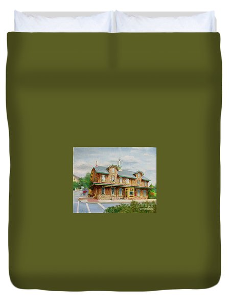 Duvet Cover featuring the painting Lambertville Inn by Oz Freedgood