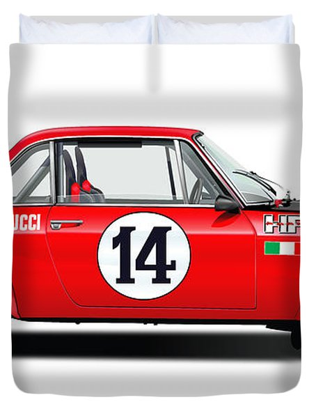Lancia Fulvia Hf Illustration Duvet Cover