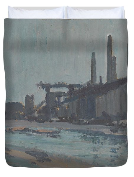 Landscape With Industrial Buildings By A River Duvet Cover
