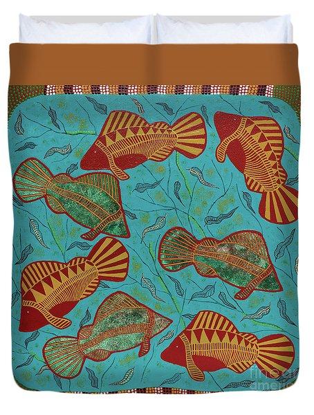 Large Barramundi Swimming  Duvet Cover