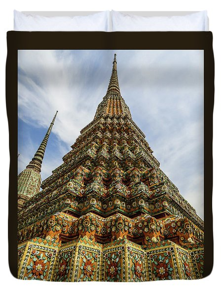 Large Colorful Stupa At Wat Pho Temple Duvet Cover
