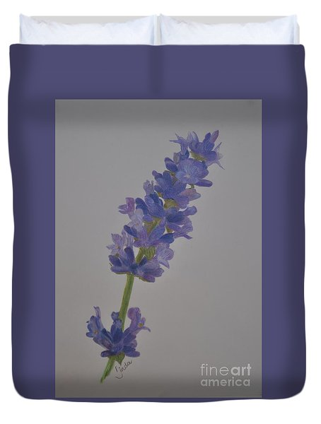 Duvet Cover featuring the drawing Lavender by Linda Ferreira