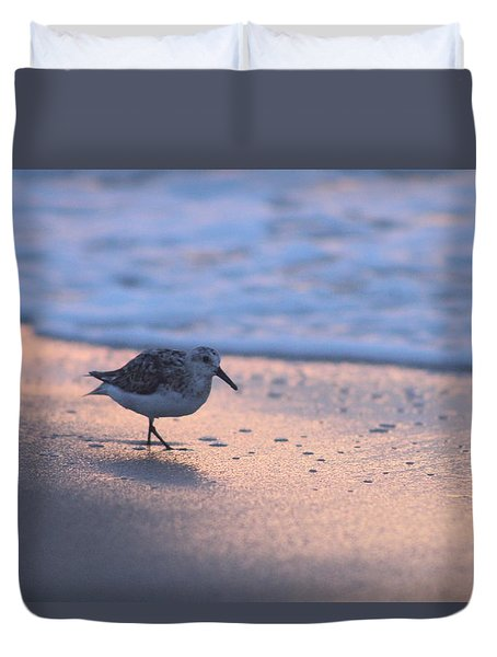 Duvet Cover featuring the photograph Least Sandpiper At Dawn by Robert Banach
