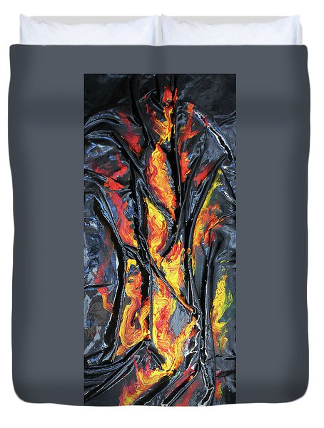 Leather And Flames Duvet Cover by Angela Stout
