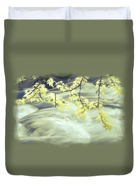 Leaves Over Gossamer Waters Duvet Cover