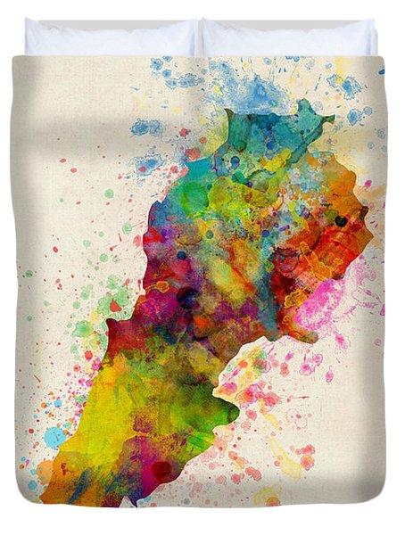 Lebanon Watercolor Map Duvet Cover