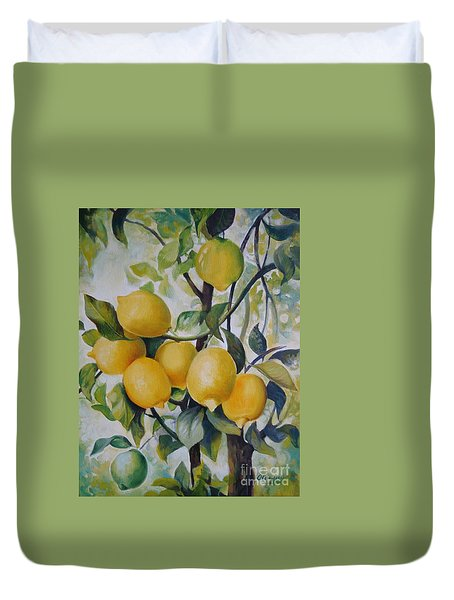 Duvet Cover featuring the painting Lemons by Elena Oleniuc