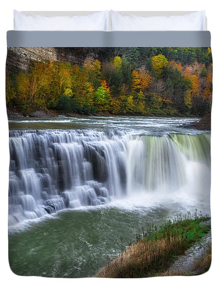 Duvet Cover featuring the photograph Letchworth Lower Falls by Mark Papke