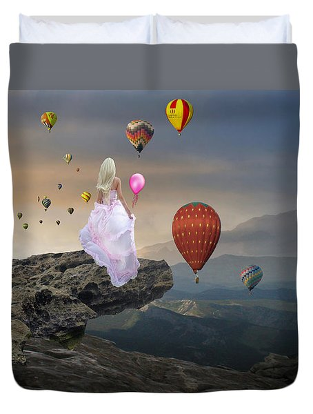 Duvet Cover featuring the mixed media Letting Go by Marvin Blaine